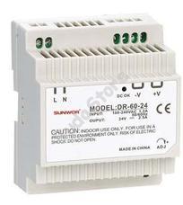 SUNWOR DR-60-12 DIN sínre szerelhető kapcsolóüzemű tápegység 12 VDC 4.5 A DR6012