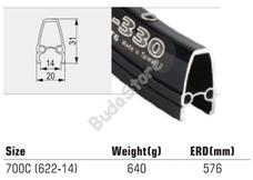 Felni TW 700C 36H fekete CNC 15432