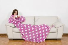 Kanguru Deluxe zsebes és belebújós takaró pink fehér pöttyös Pop