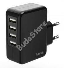 HAMA 173676 Hálózati töltő USB 4X AUTO DETECT 4,8A fekete