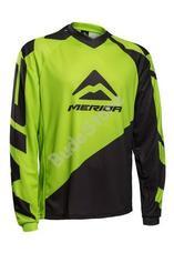 MERIDA Freeride/Enduro hosszú mez zöld/fekete V-nyakú M-es