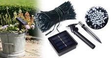 Napelemes kerti fényfüzér 100 LED melegfehér 10 méteres