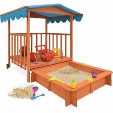 Fa játszóház homokozóval és árnyékoló tetővel HOP1000920-1