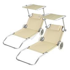 2db mobil napozó ágy árnyékolóval bézs HOP1000934-1