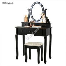 Tükrös fésülködő asztal Hollywood fekete HOP1000990-2