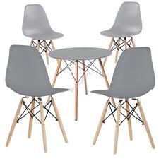 4 db modern étkezőszék asztallal szürke HOP1001107-2