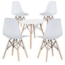 4 db modern étkezőszék asztallal fehér HOP1001107-3