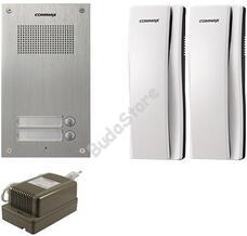 COMMAX DR-2UM + 2 db DP-SS + RF-1A Kétlakásos kaputelefon szett 117272