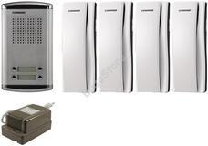 COMMAX DR-4AM + 4 db DP-SS + RF-1A 4 lakásos kaputelefon szett 117265