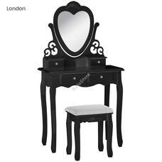 Tükrös fésülködő asztal székkel London fekete HOP1001147-2