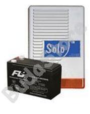 SOLO + 7 Ah akkumulátor Kültéri hang-fényjelző szabotázsvédett fémházban