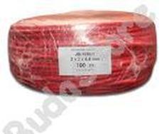 Tömör rézkábel  2 x 2 x 0,8 D árnyékolt piros színű 100m